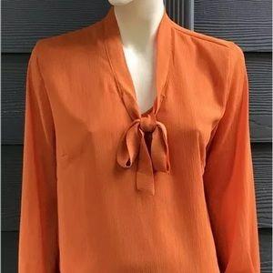 ACEVOG Women Top Sz L Orange Long Sleeve Chiffon